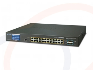 Switch warstwy 2+ Planet 24 porty 1000BASE-T RJ45 PoE+, 4 porty 10Gigabit SFP z ekr. dot. - GS-5220-24PL4XV/GS-5220-24PL4XVR